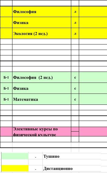 Скриншот из расписания учебных занятий РХТУ им. Д.И. Менделеева.